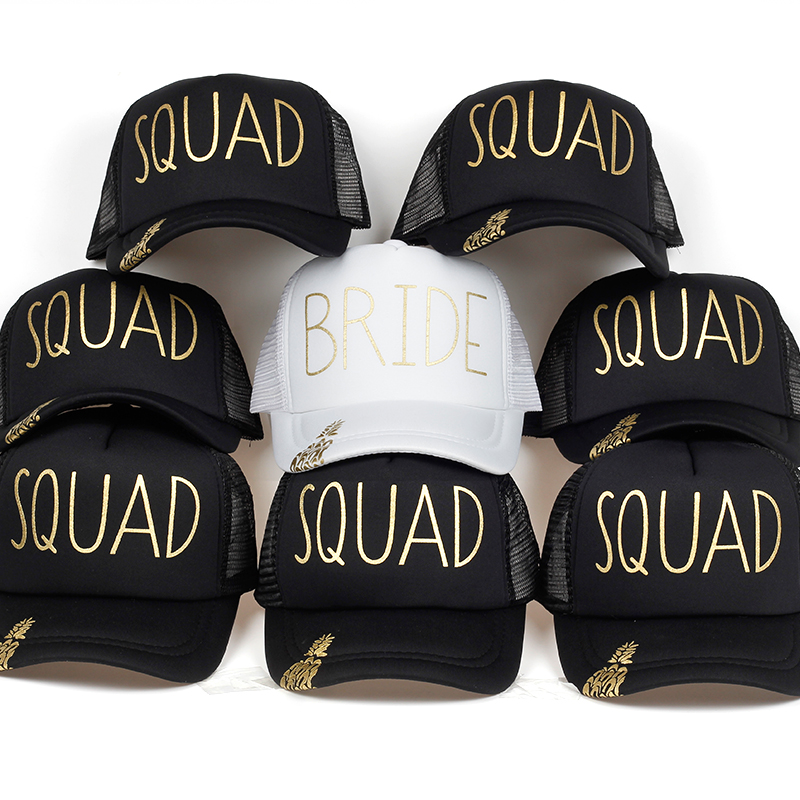 Pineapple BRIDE SQUAD Baseball Caps Golden Print New Style Hats Women Wedding White Black Bachelor Party Summer Lovers Hats
