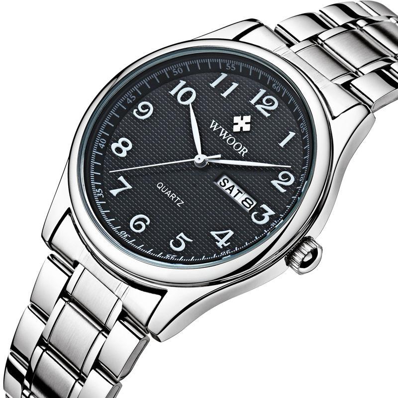 2018 New Brand Men Watch Date Day Stainless Steel Relojes Hours Clock Dress Casual Quartz Watchs Sport Wristwatch Number Father steel strap number quartz date watch