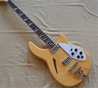 Custom Rick 4 strings hollow body bass guitar,high quality natural 4 strings bass,free shipping