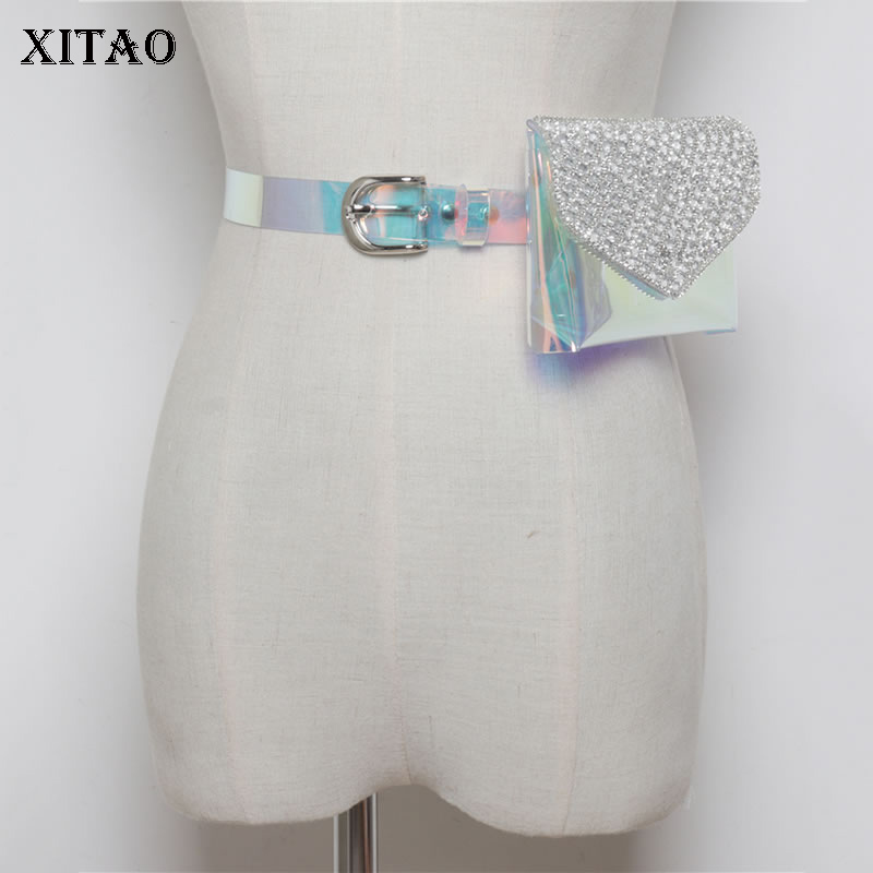 XITAO Wild Ins Flash Drill Cummerbunds Women Korea Fashion New PVC Transparent Colorful Belt Detachable Pockets Summer WLD1430
