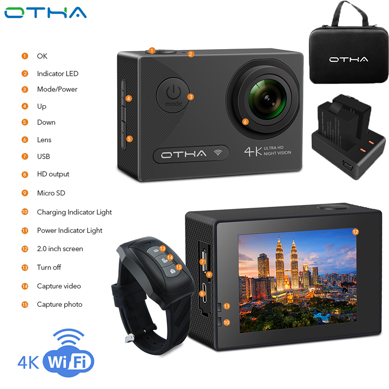 OTHA Action Camera Ultra HD 4K Video Camera Night Version DV Waterproof WiFi 1080P Underwater Sports Camera with Remote Control