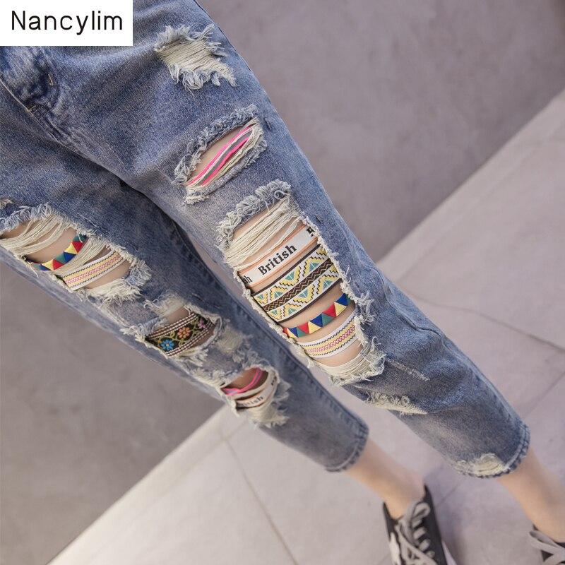 Plus Size Jeans Women Hole Denim Pants Female Summer Autumn New Loose 9-point Beggar Pants Students Streetwear Nancylim