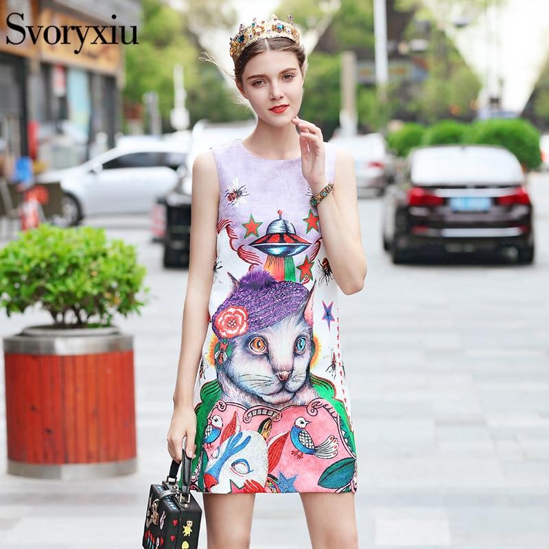 Svoryxiu Runway Vintage Jacquard Tank Dresses Cartoon Animal insect Print Fashion Party A Line Short Dress