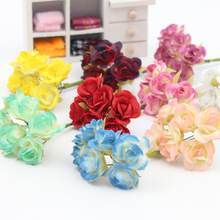 Buy mini craft silk flowers and get free shipping on aliexpress 12pcslot mini silk flower rose bouquet leaf flower for home garden wedding car corsage mightylinksfo