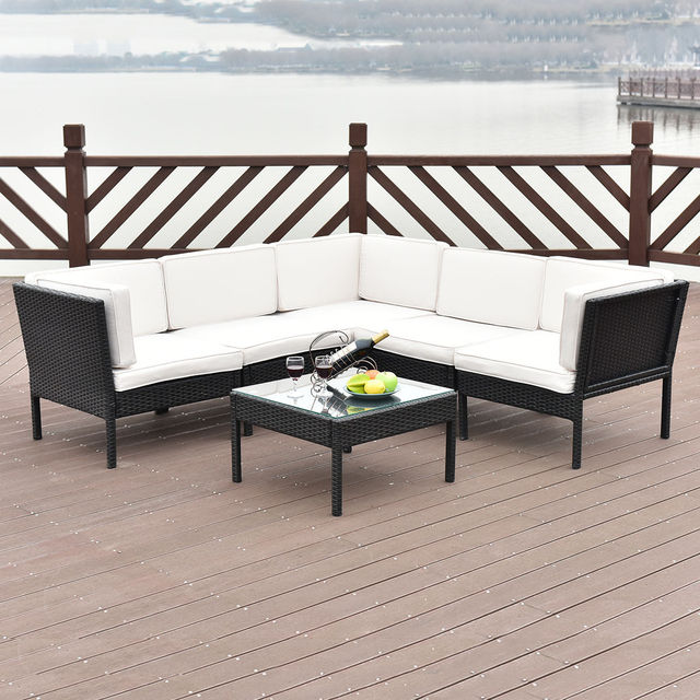 Giantex 6 PCS Rattan Wicker Patio Furniture Set Steel Frame Sofa Cushioned  Rattan Garden Corner Couch
