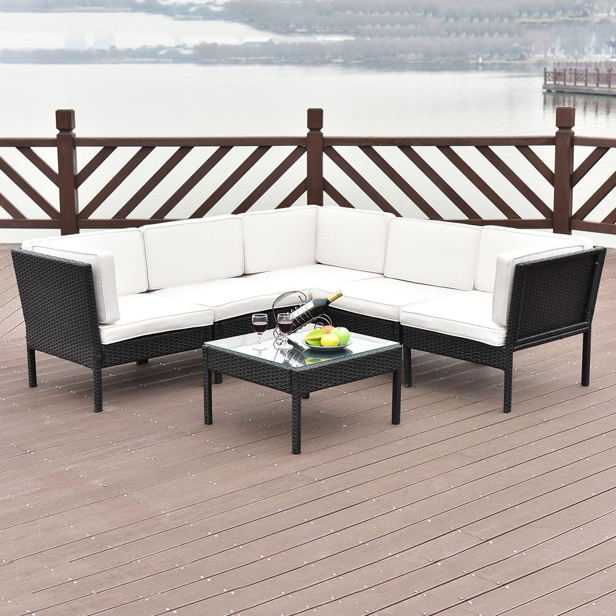 Giantex 6 STÜCKE Rattan Wicker Patio Furniture Set Stahlrahmen Sofa ...