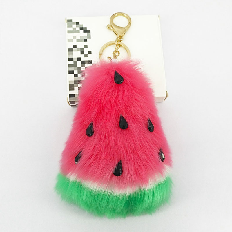 Cute Watermelon Key Chains Puffy Pompom Handmade Soft Fur Pendant for Bag Decoration Car Key Keychains Jewelry Ornament Kids Toy
