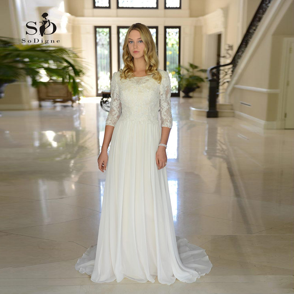 US $82.96 32% OFF|Wedding Dress Chiffon Plus size Lace top Beading Informal  long Bride dress Half sleeves A line Custom made-in Wedding Dresses from ...