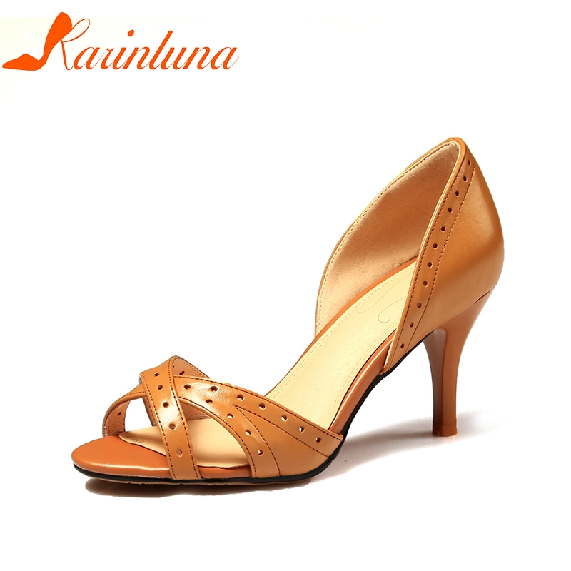 KARINLUNA 2018 Genuine Leather Large Size 34-42 Slip On Summer Sandals Shoes Woman Cow Leather Spike Heels Women Sandals ribetrini summer large size 34 40 cow genuine leather woman shoes mix color leisure flats women shoes sneakers