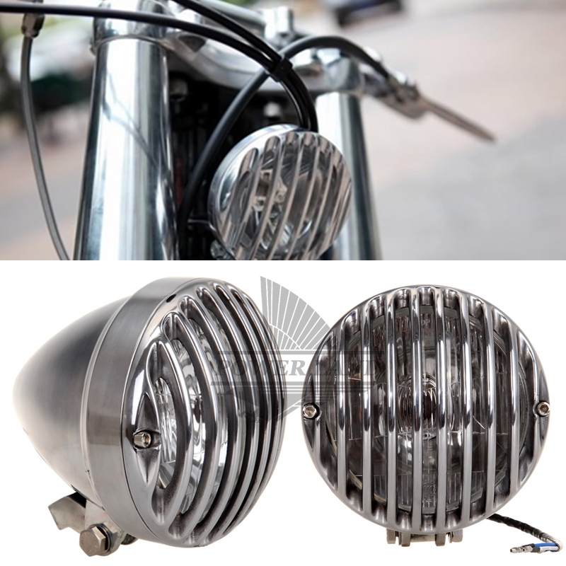 RODDER Old School Style High/Low Beam Chrome 6.3 inch Grill Cover Headlight Scheinwerfer Fit For Bobbre Dyna Sportster 883 1200