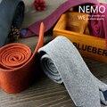 5 Cores de Lã de Luxo Laços para Homens 6 cm Ampla 2016 Nova Xadrez de forma Magro Gravata Casamento Sólido Preto Vermelho Cinza de Algodão Designer empate