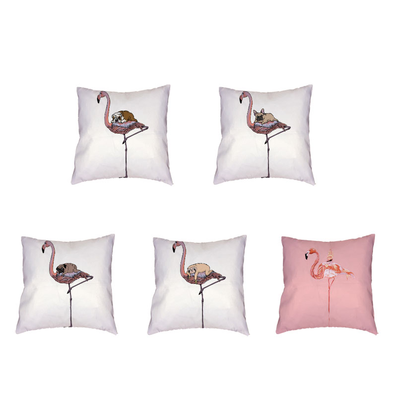 Creative Flamingo White Cushion Set Pug Dog Bulldog Printing Polyester Peach Skin Materials Car Seat Home Sofa Decor Pillowcase