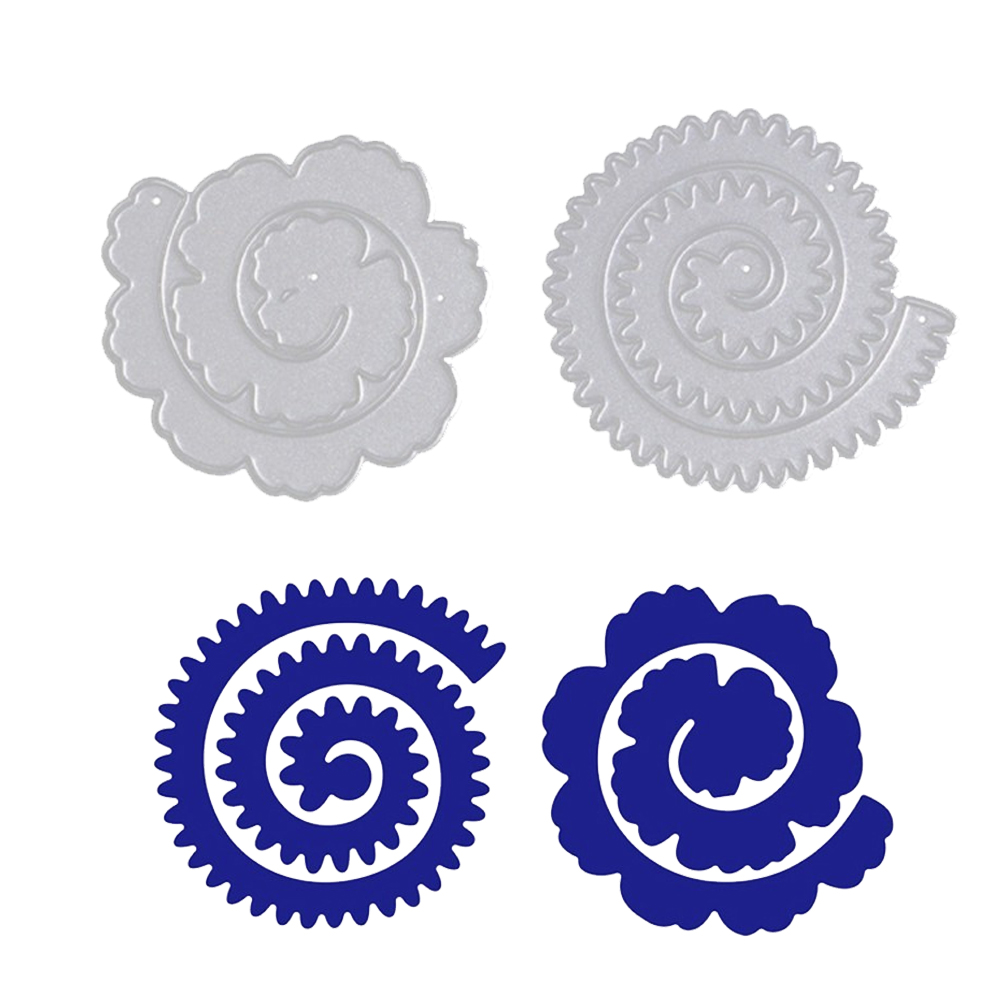 Seasenxi 2pcsset Rose Flower Roll Metal Cutting Dies Stencils For