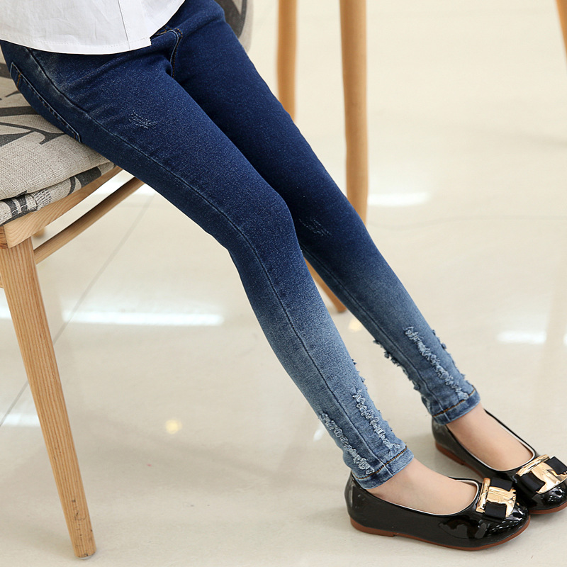 Girls leggings new 2018 autumn kids jeans gradient ultra girls elastic skinny children pencil pants for 5 to 16 years trousers