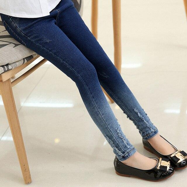 7c3476e290 Girls leggings new 2019 autumn kids jeans gradient ultra girls elastic  skinny children pencil pants for 5 to 16 years trousers