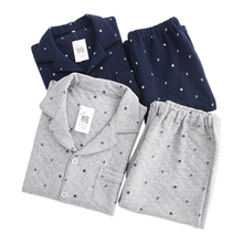 Japanese Winter keep warm pajama sets men sexy Navy style th
