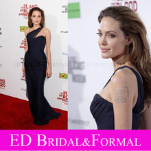 Angelina Jolie Marineblau Kleid Roter Teppich Promi Abendkleid One Shoulder High Slit Abendkleid vestido de festa longo