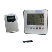Wireless Digital LCD Thermometer Hygrometer Weather Station Indoor Outdoor Temperature Humidity Meter Date Alarm Clock