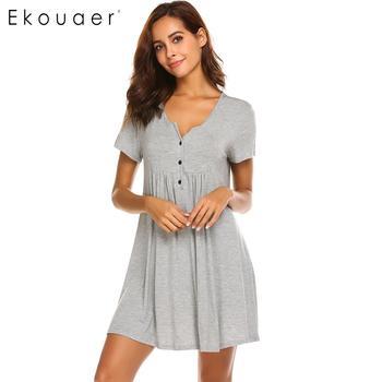 2a1fe9172067 Ekouaer ночная рубашка для женщин с v-образным вырезом короткий рукав  плиссированные сна Туника Рубашки