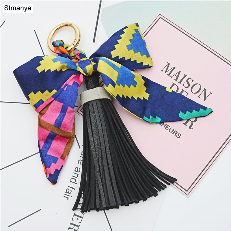 New High Quality Keychain Women Silk Ribbon Bowknot Key Chain Fashion Tassels Car Key Ring Bag Pendants Best Gift Jewelry K1787