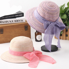 HT1558 Women Summer Hats Ladies Big Ribbon Bow Straw Foldable Panama Beach Sun Female Bonnie Fishing Bucket