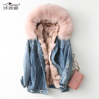Autumn Winter Coat Women Real Fur Coat Women Clothes 2018 Fox Fur Parka Real Fox Fur Collar Warm Denim Jacket Harajuku 68663 MY