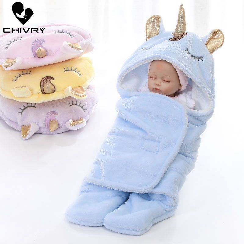 Baby Unicorn Blankets Newborn Infant Baby Boy Girls Swaddle Sleeping Blanket Winter Double Layer Wrap Flannel Bedding Blanket