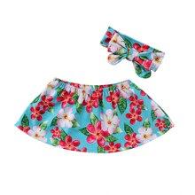 Летняя Милая Одежда для маленьких девочек топы без бретелек с открытыми плечами и повязка на голову летний костюм Размер от 0 до 24 месяцев