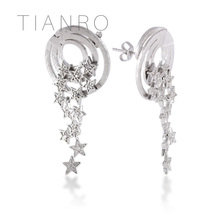 TIANRO Flower core design elements Drop Earrings High quality Mosaic 3A zircon with lady earrings