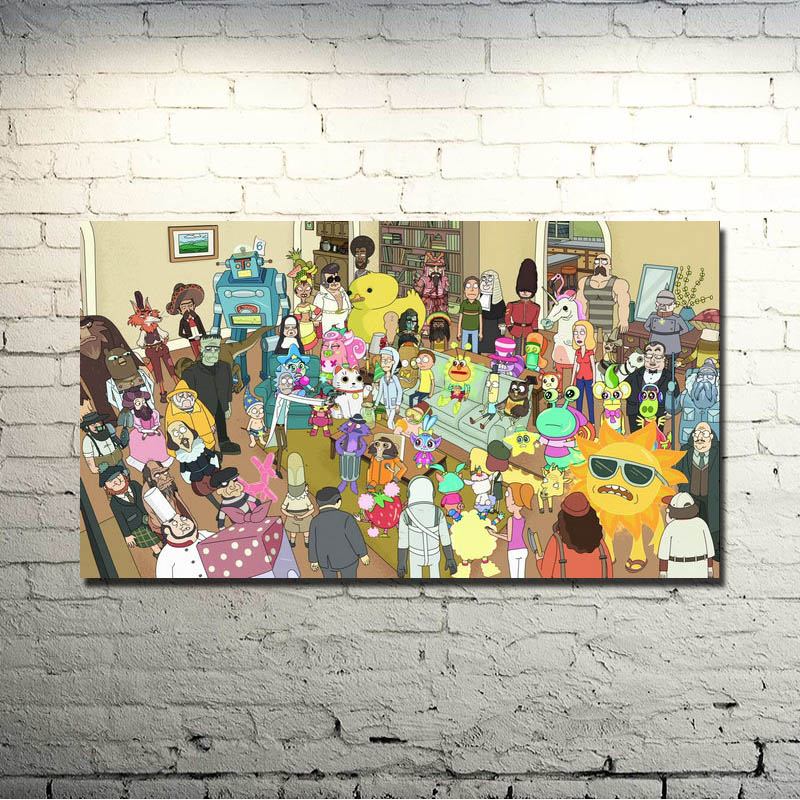 Rick And Morty Art Silk Fabric Poster Print 13x24 20x36inch Cartoon Picture For Living Room Decor007