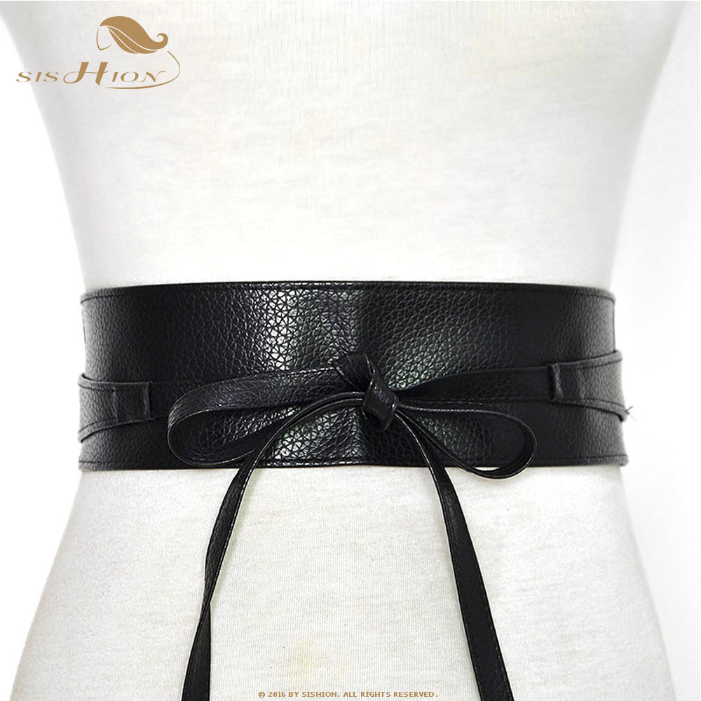 SISHION Belt For Women Bowknot Faux Leather Wrap Around QY0246 Waistband Black Cummerbund Brown Women Belt