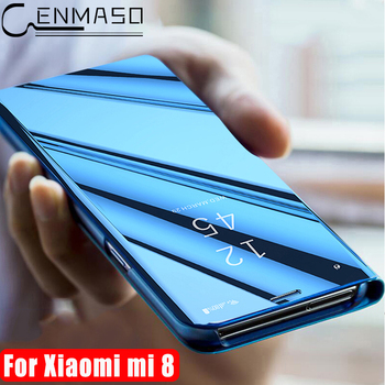 for Xiaomi Mi 8 Case Luxury Clear Mirror Smart View Window Protection Flip Case for Xiaomi Mi8 Case Xiaomi 8 Cover Capa Coque