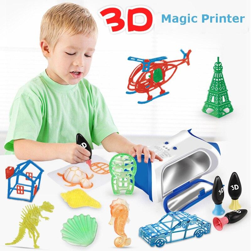 DIY Creative Painting Toy 3D Magic Printer Children Puzzle Handmade Three-dimensional Magic Print Graffiti Interaction Toys