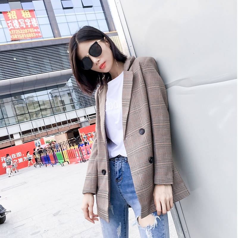 spring autumn plaid suit long coat new casual slim Office Lady Blazer British wind female Jackets Elegant Work Blazers Feminino