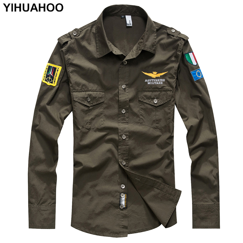 YIHUAHOO Military T Shirt Men Long Sleeve Fashion Casual Brand Cotton Shirt Pilot Flight Air Force Army Tee Tshirt Tops MP-12001