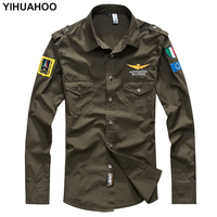 YIHUAHOO Military T Shirt Men Long Sleeve Fashion Casual Brand Cotton Shirt Pilot Flight Air Force Army Tee Tshirt Tops MP 12001