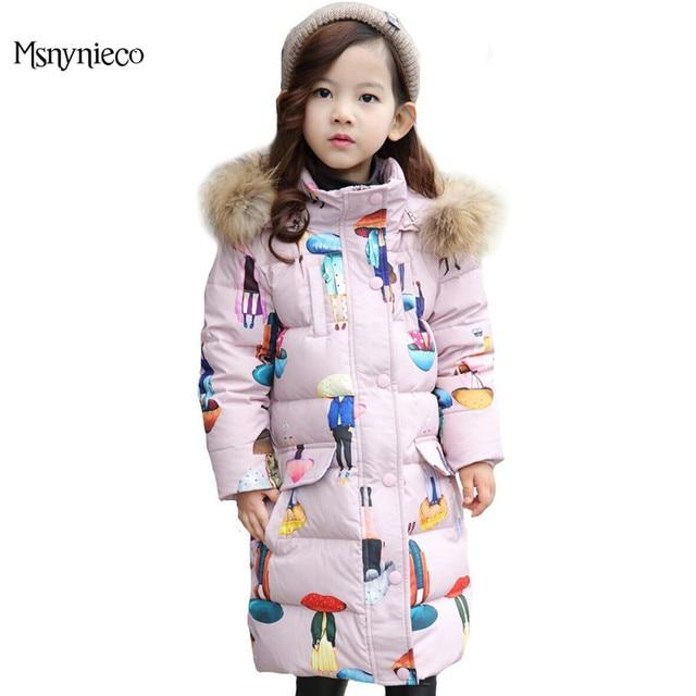 Пуховики для девочек 2017 модный бренд с капюшоном пальто Высокое качество Зимняя одежда для детей Куртки и пиджаки пальто для девочек Одежда для малышей