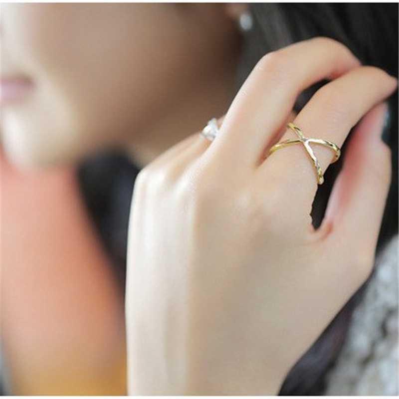 2019 สินค้าใหม่ร้อนแฟชั่นผู้หญิงแหวนทองและชุบเงิน X Cross สเตอริโอ Hollow แหวนสำหรับผู้หญิงเครื่องประดับ