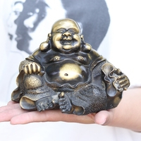Bronze crafts Maitreya buddha big belly Buddha statue Home living room craft Feng shui ornaments
