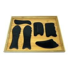 6pcs/set good quality Traditional Acupuncture Massage tool Gua sha kit 100% ox Horn gift beauty bag & guasha chart