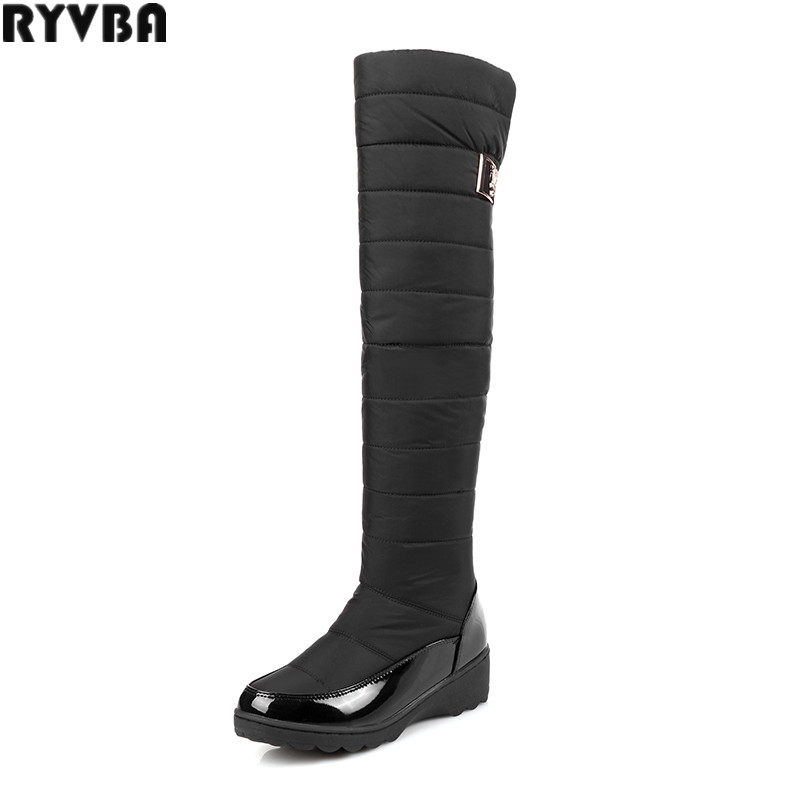 RYVBA woman knee high snow boots fashion platform fur thigh high boots warm winter boots for women shoes womens female plus size