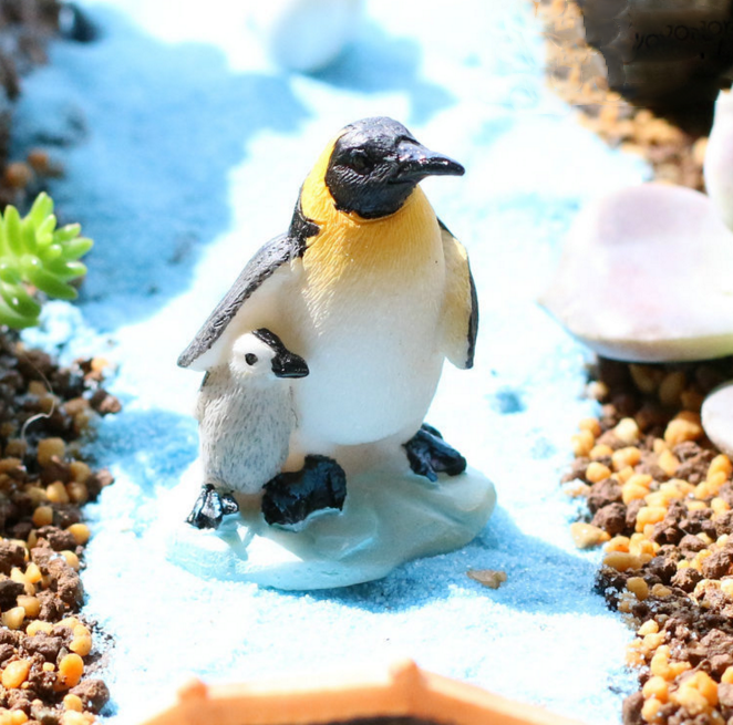 1Pcs/set Cute Penguin Mother Baby Animal Miniature Fairy figure toys Houses Decoration M ...