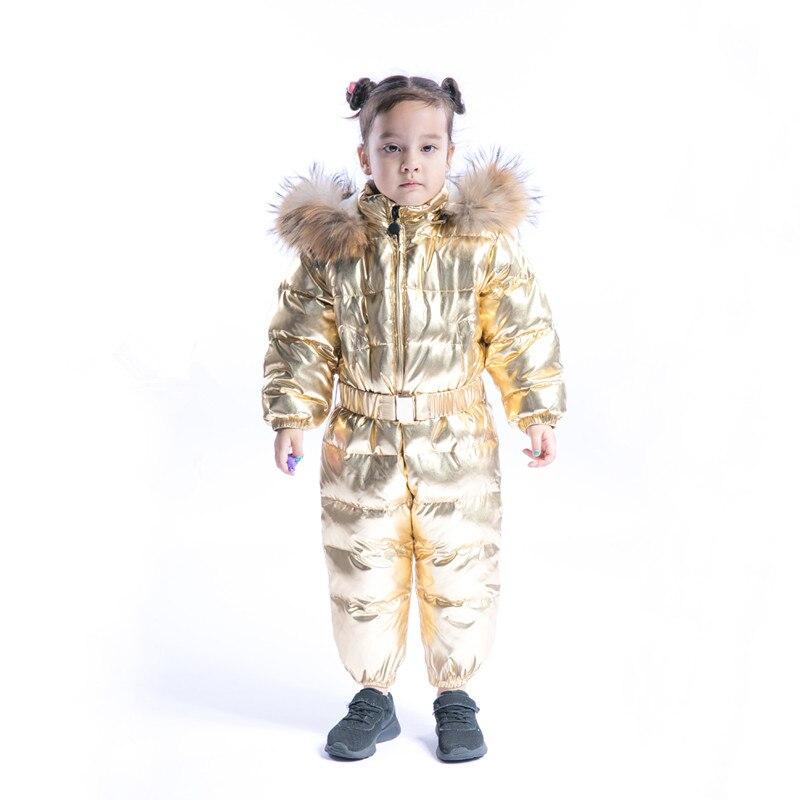 2018 New Childen Duck down Snowsuit Kids Winter Jumpsuit Baby Newborn Overalls Boys Girls Silver Golden Romper Real Fur Collar