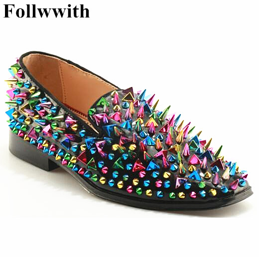 New Fashion Dandelion Multicolor Spikes Leather Mens Loafers High Quality Slip On Rivets Men's Loafers Party Dress Shoes For Men 100pcs lot 6colors 12mm round spikes fashion pop rivets stud hardware w screw for bags shoes wallets belts