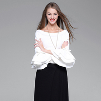 Office Blouse Women Fashion Flare Sleeve Slash Neck Knitted Blouse Shirts White Black Red High Quality