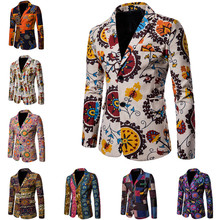 2018 Men's Casual Blazer Clothes New Fashion Male Print Jacket Streetwear Youth Slim Fit Men Suits Coats Clothing Plus Size 4XL