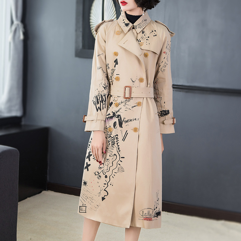 LANMREM 2019 Autumn New High Quality Casual Fashion Women Loose Plus Printing Double-breasted Lapel   Trench   Coat TC619