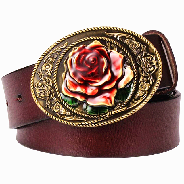Fashion men's genuine leather belt for women real leather belt Rose flower metal gift for woman Jeans belt decoration