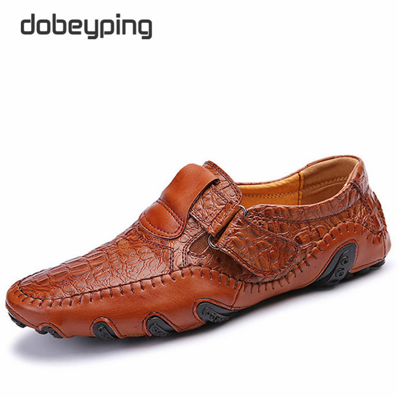 New Men's Slip On Casual Flats Classic Brand Genuine Leather Man Loafers Manmade Mocassim Male Driving Shoes Large Size 38-46 new 2017 mens white color genuine leather slip on flat casual shoes cool guys brand hip hop shoes size 38 44