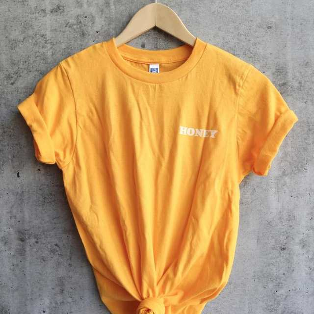 Online Shop Honey Yellow Clothing T Shirt Casual Honey Slogan Letter